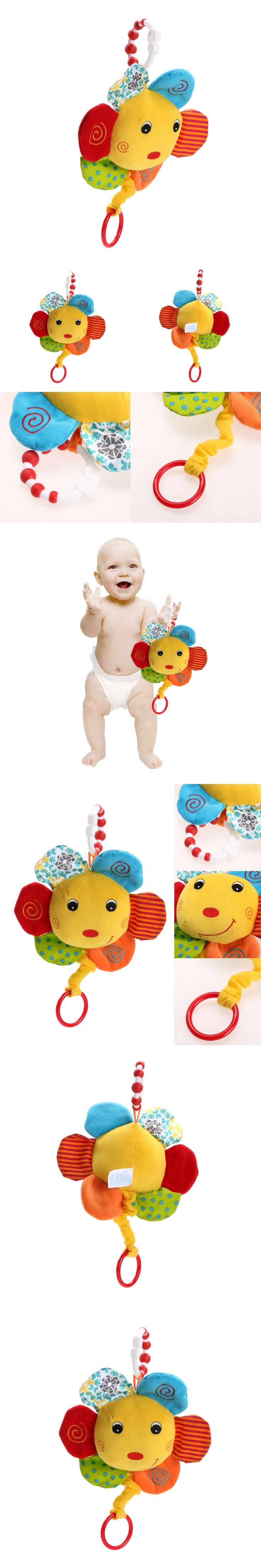 Baby  Pull Ring Bed Hanging Plush Doll Kids Hand Grasp cotton Music Toy (Sunflower) Baby Stroller Accessories Toys