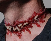 Halloween Jewelry-Horror  Necklace - Zombie  Jewelry - Slit Throat  - Zombie costume Necklace with worms. $25.00, via Etsy.