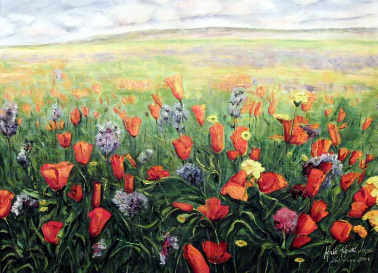 AMAPOLAS (2008) OIL ON WOODEN BOARD 90 X 75 By Maite Rodriguez  www.maiterodriguez.es