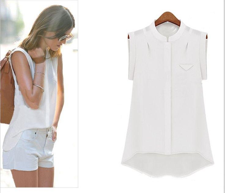 Великобритания 2016 лето новое мода женщины без рукавов майки шифон белая блузка сорочка роковой Blusas camisa femininaкупить в магазине UK FashionнаAliExpress