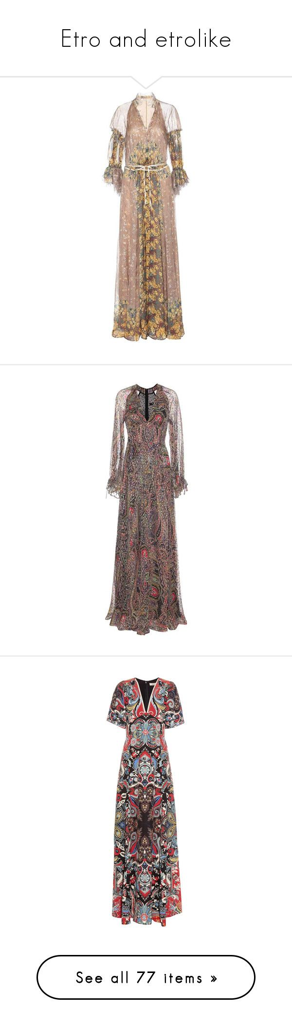 """""""Etro and etrolike"""" by lorika-borika on Polyvore featuring dresses, cocktail/gowns, multicoloured, silk evening dresses, brown silk dress, multi colored dress, silk dress, multicolor dresses, multi coloured dress и multi-color dresses"""