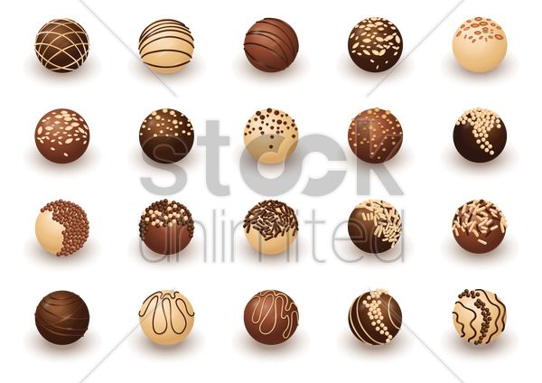 collection of chocolate balls vector graphic