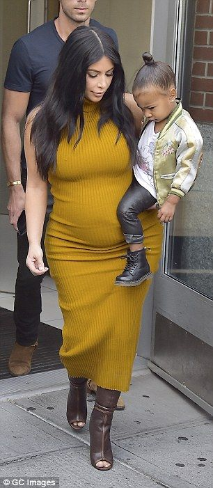 Kim Kardashian dresses North in leather trousers and combat boots #dailymail