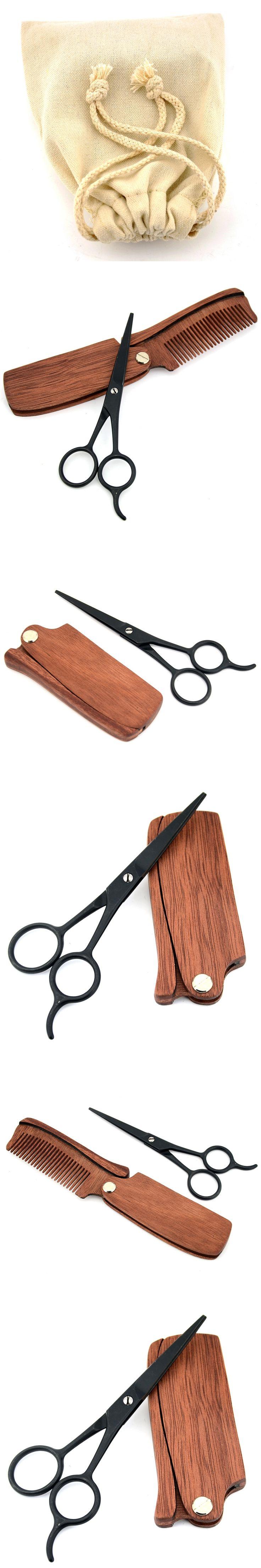 2PCS ZY 4.5 inch Beard Scissors Mustache Hair Trimmer Black Shaving Shears For Men Shave Beard + Folding Comb+Free Canvas Bag