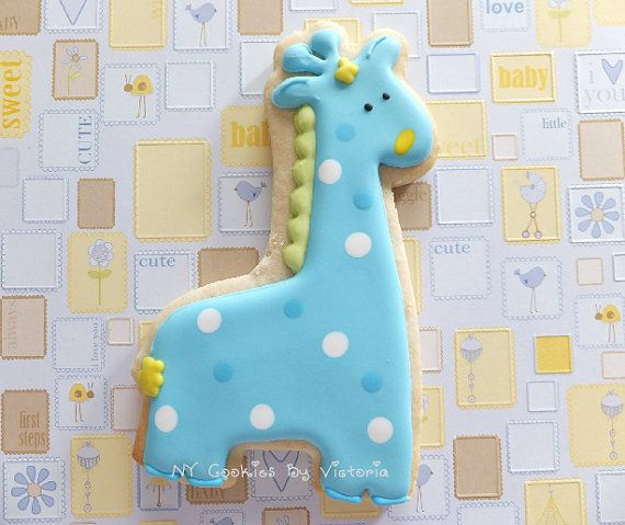 Baby Giraffe Cookie - 12 Cookies - Baby Shower Cookies Favors