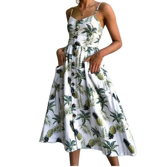 Women Dress 2018 Vintage Sexy Bohemian Floral Tunic Beach Dress Sundress Pocketrricdress – teeffury