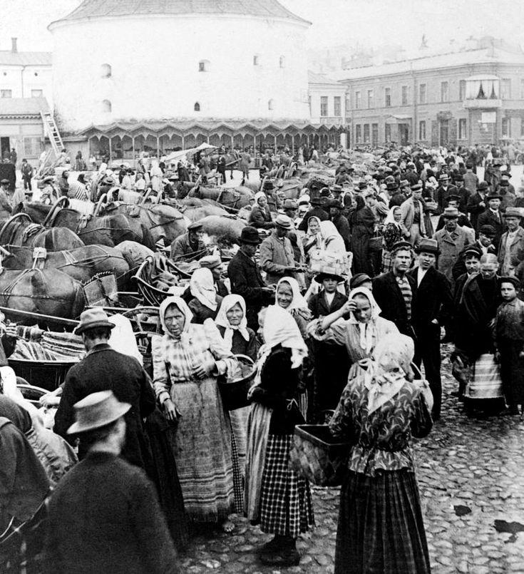 Vyborg Photograph - Vyborg Market Place  C 1897 by International  Images