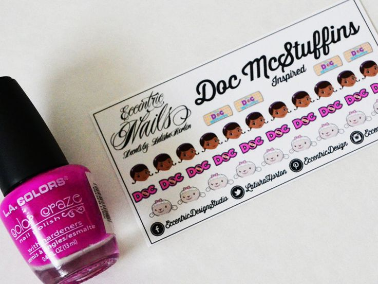Doc McStuffins - Nail Decals  These adorable Nail Decals can also be used as a Party Favor or Gift item for a Doc McStuffins Birthday Party. Nail Designs / Nail Art / Nail Art Ideas / Nail Decals DIY / Nail Decorations Ideas / Kids Nails / Kids Nail Art / Kid Nail Designs