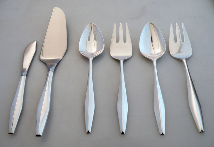 Gio Ponti, Diamond Pattern Sterling Silver Flatware Set 1958 for 12 or 16 !!!! 5