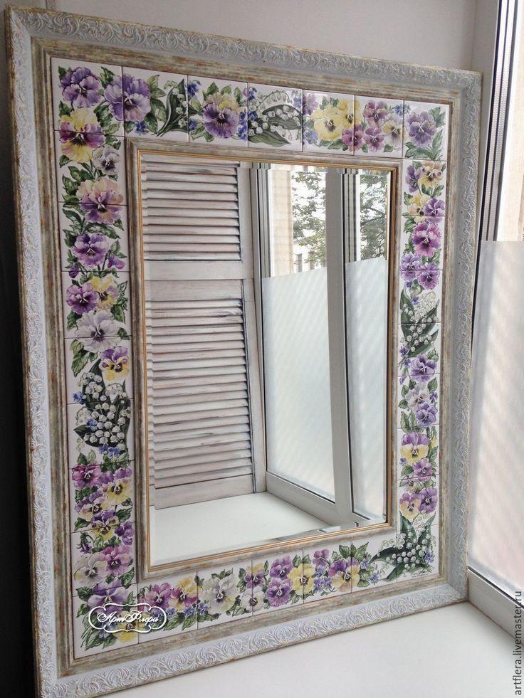 Купить Зеркало Роспись керамики Ландыши и Анютки - зеркало, зеркало настенное, зеркало ручной работы
