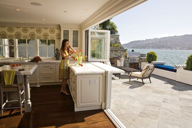 Indoor outdoor kitchen, the wall and windows just fall away ...