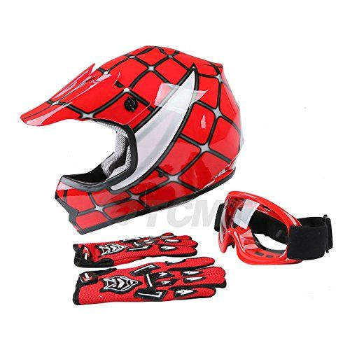 TCMT Dot Youth & Kids Motocross Offroad Street Helmet Red Spider Net Motocross Off-Road Helmet MX Goggles+Gloves L. For product info go to:  https://www.caraccessoriesonlinemarket.com/tcmt-dot-youth-kids-motocross-offroad-street-helmet-red-spider-net-motocross-off-road-helmet-mx-gogglesgloves-l/