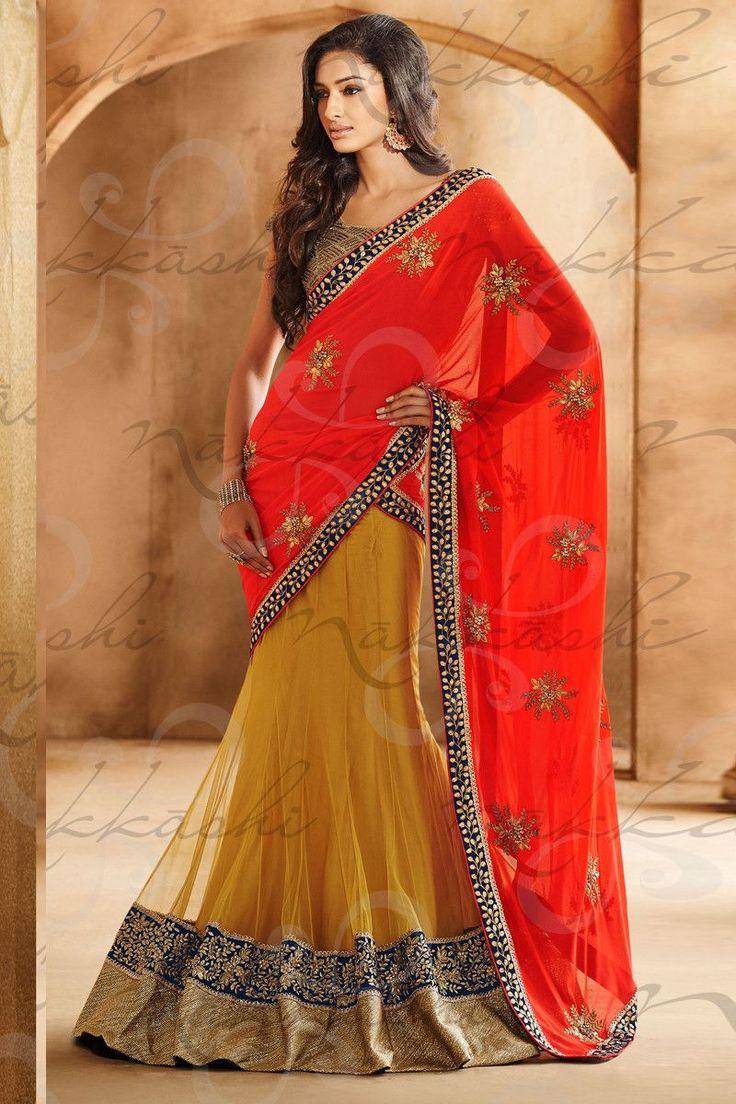Variation Red & Mustard Colour Net & Gerogette Designer Lengha Saree