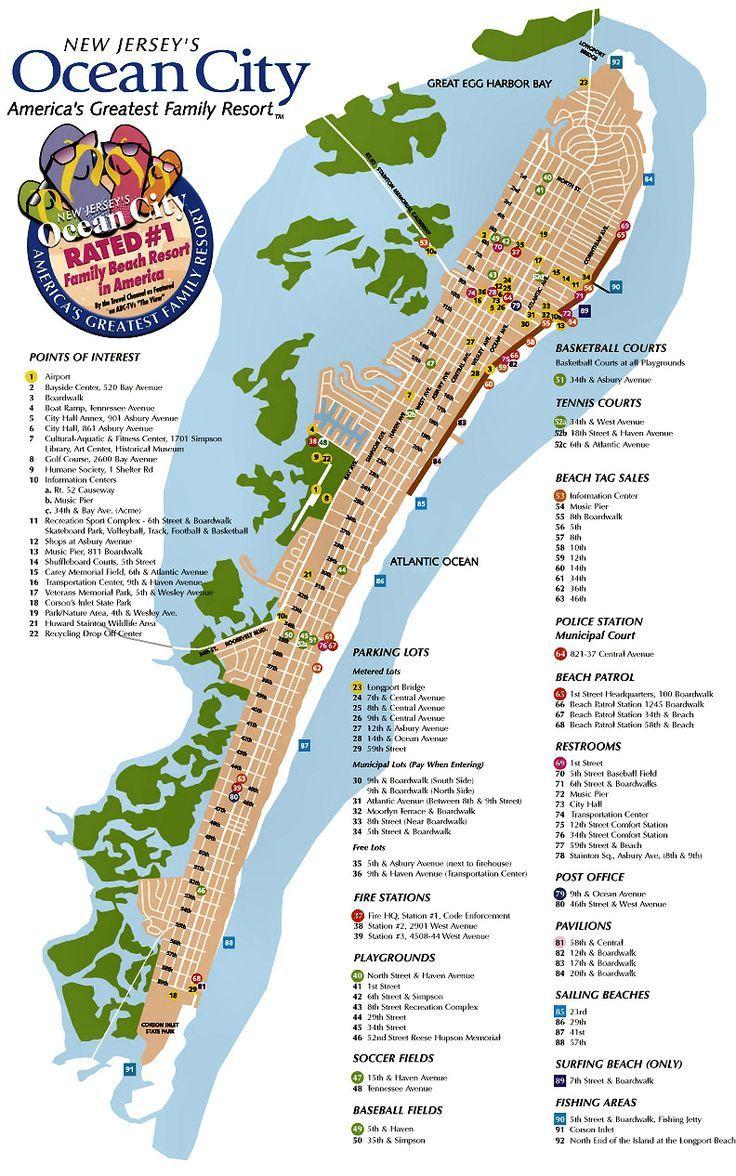 Ocean City Nj Street Map Ocean City Maryland Vacation Ocean City Nj Ocean City
