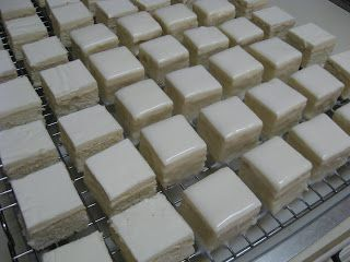 Cakes and Cupboards: Lisa's Easy Petits Fours. How to make petifores and recipe for poured fondant.