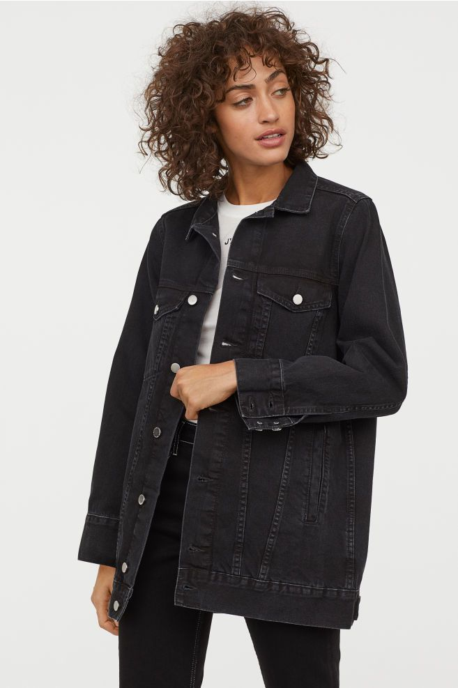 Long Denim Jacket Black Washed Out Ladies H M Us In 2020 Long Denim Jacket Black Denim Jacket Outfit Denim Jacket Women Outfit
