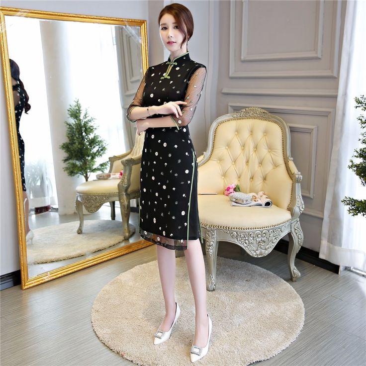 Shanghai Story Half Sleeve chinese traditional dress Woman's Black Qipao Lace  Cheongsam Dresses Knee Length #Affiliate