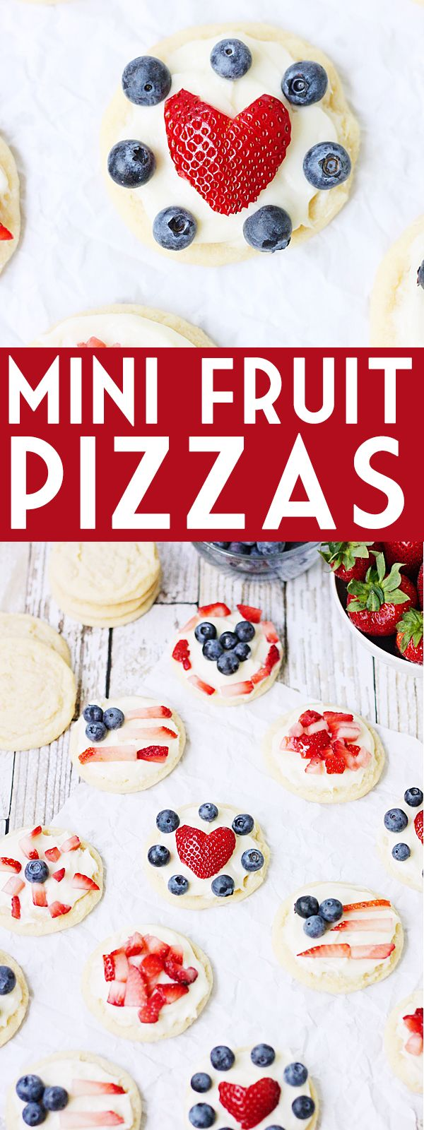 Mini Fruit Pizzas -- Mini fruit pizzas are a fun and festive dessert for the 4th of July or any celebration! Top them with berries, diced kiwi...even mandarin oranges! | isthisreallymylife.com