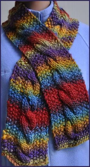Chunky Mochi Cable Scarf- good project for me to learn how to knit a cable.