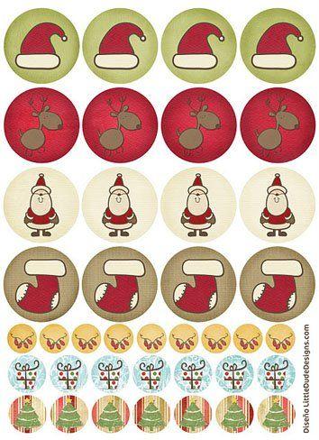 Tarjetas, etiquetas y pegatinas de Navidad para imprimir