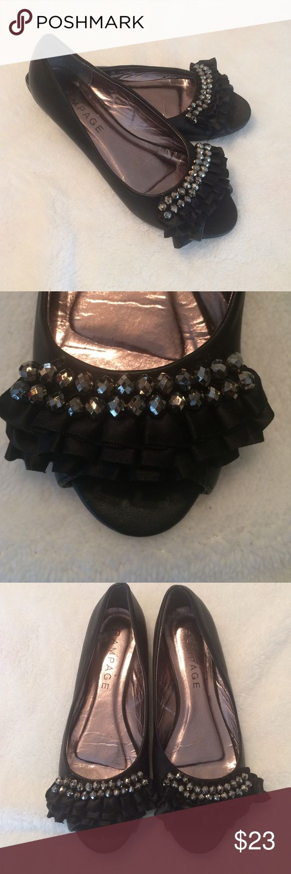 Ruffles Peep Toe Flats Ruffles and silver beads add all of the pizazz needed to make these comfortable flats perfect for the dance floor!   Only worn once so they are in great condition.  Size 7 Rampage Shoes Flats & Loafers