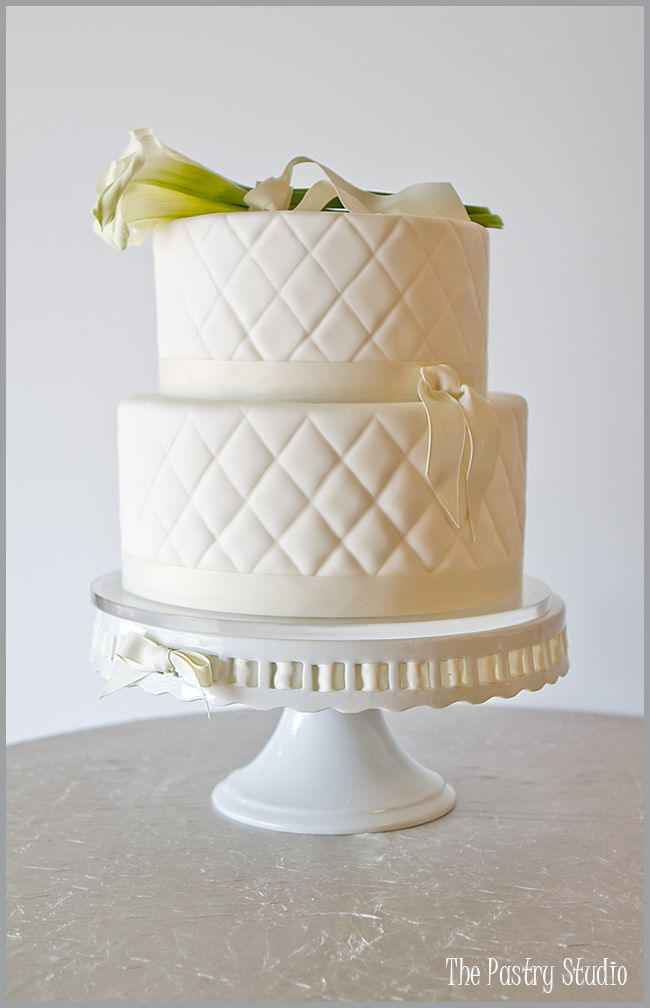 A Classic Quilted Wedding Cake with Fresh Cala Lilies-a timeless design.