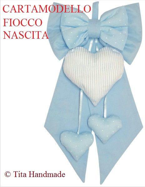 Cartamodello fiocco nascita bimbo/bimba newborn di TitaHandmadeshop su Etsy