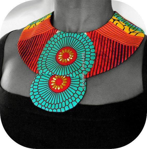 Handmade fabric neckwear Striking African Bib by BarefootModiste