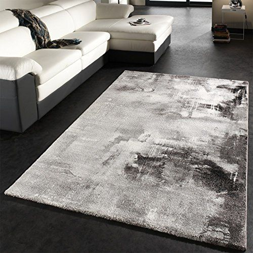 Teppich Modern Designer Teppich Leinwand Optik Grau Schwarz Weiss Meliert, Grösse:200x290 cm