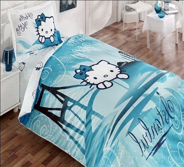 Детское постельное белье голубое с Хеллоу Китти в Стамбуле