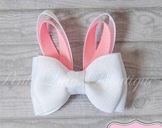 Easter Bunny Hair Clip ~ Mini Hair Bow ~ Easter Bunny Ears Hairbow ~ Baby Bow ~ Easter Barrette ~ Bunny Ribbon Sculpture ~ Girls Hairclip