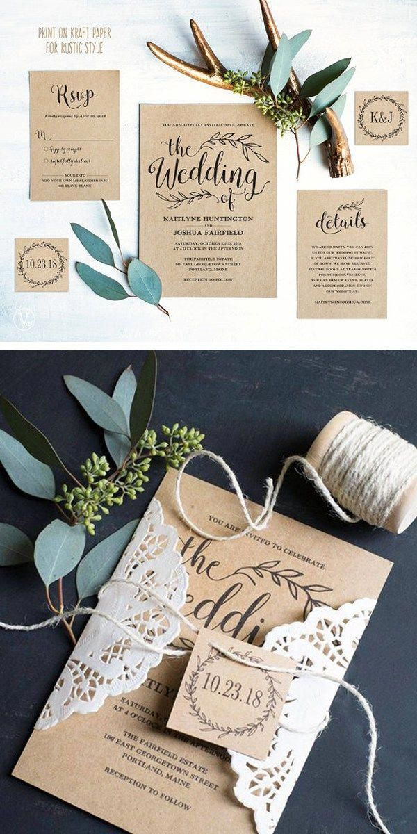 How To Print Your Own Wedding Invitations Useful Diy Wedding Ide In 2020 Wedding Invitations Printable Templates Kraft Wedding Invitations Easy Diy Wedding Invitations
