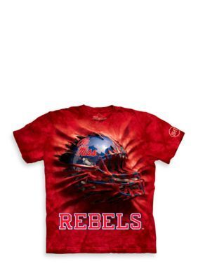 The Mountain Red Ole Miss Rebels Breakthrough Helmet T-Shirt