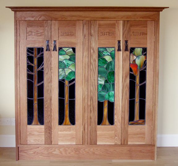 Glasgow design mission style bookcase with stained glass door windows