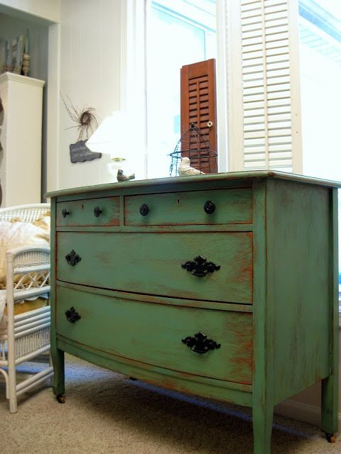 Cottage Instincts: How to Paint and Distress a Dresser love this color