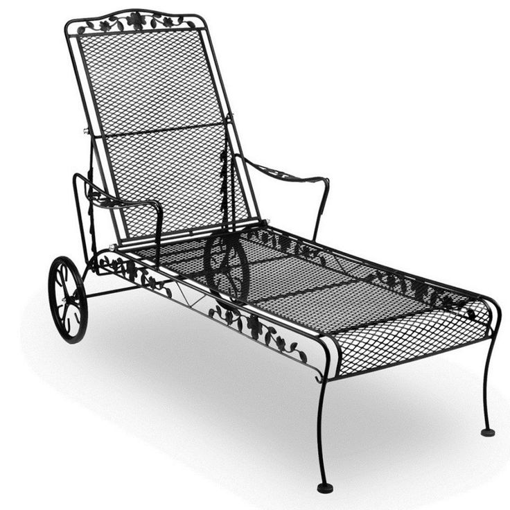 Black Metal Chaise Lounge Chair