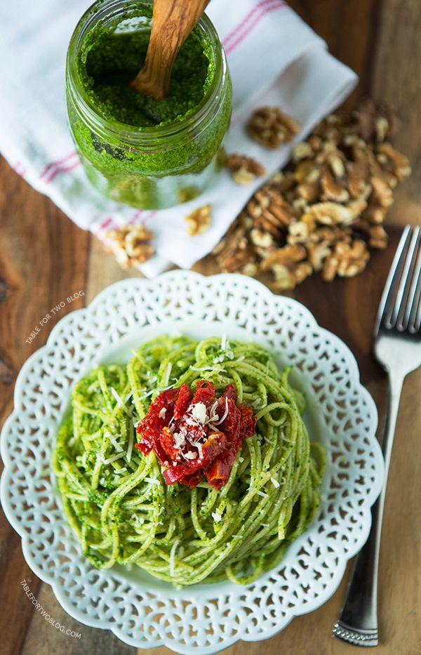 Arugula Walnut Pesto and Sundried Tomato Pasta | tablefortwoblog.com