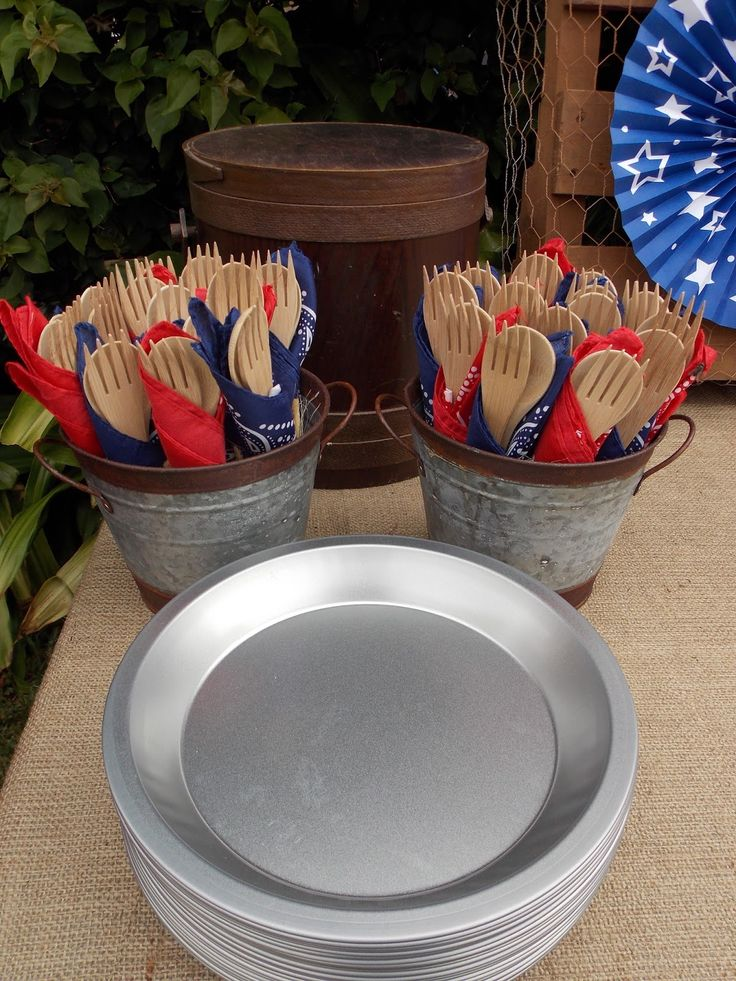 Pie tins and wooden utensils