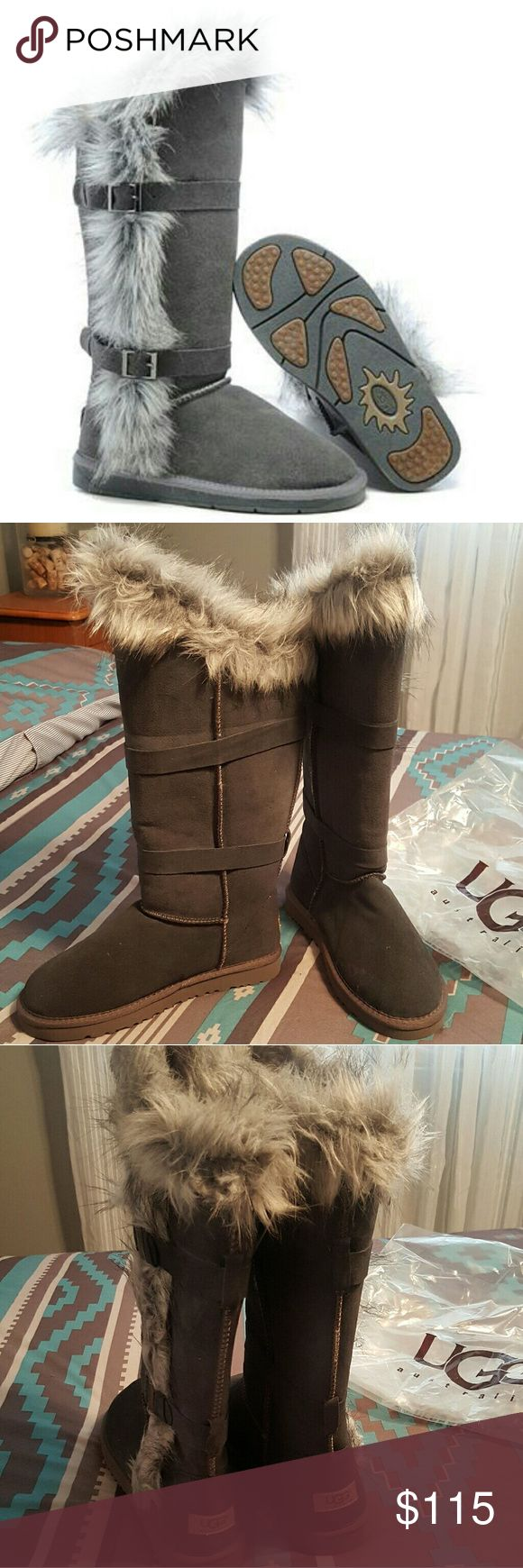 NWT Ugg Classic Tall Boots Fox fur tall grey boots. UGG Shoes Winter & Rain Boots