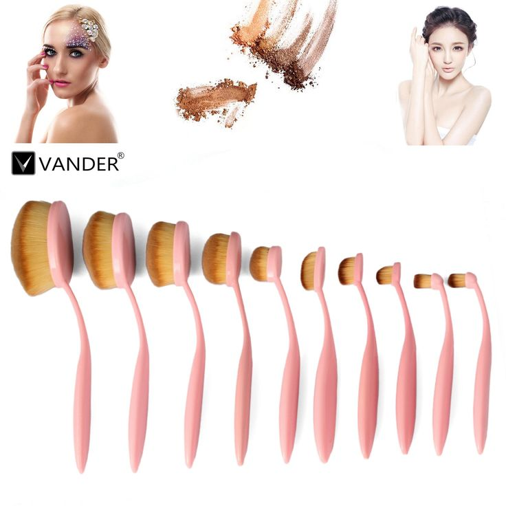 10pcs Pink Oval Toothbrush Makeup Brush Sets BB Cream Contour Powder Concealer Foundation Eyeliner Puff Brushes Cosmetics Tool. Can withstand New & High Quality. Give you a flawless foundation application every single time. No streaks and no areas with too much makeup or too little. With a concave design,which is perfect for you to apply liquid foundation on your face. Each brush head adopts special process,soft as velvet,creating a smooth uniform makeup effect.