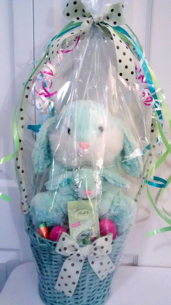 Best 25 easter gift baskets ideas on pinterest boys easter 32 ebay light blue polka dot mom baby bunny easter gift basket easter negle Images