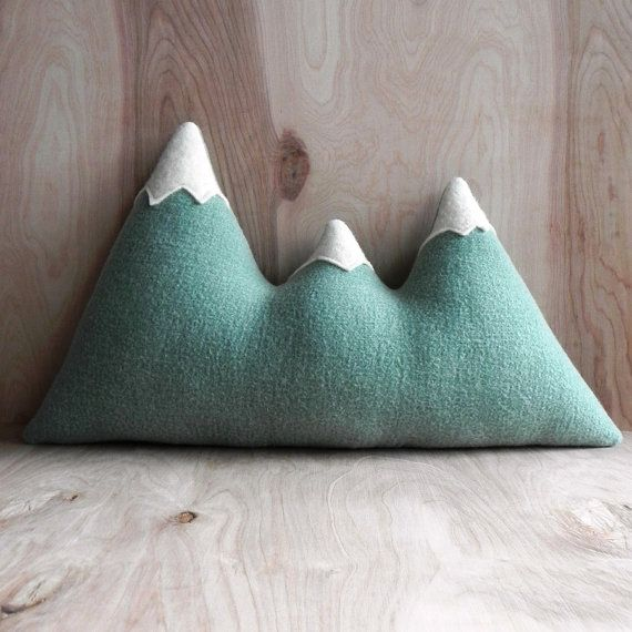 the Sisters - mint green wool mountain range pillow on Etsy, $60.00