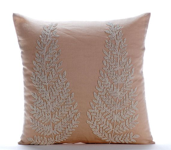 Morning Angel - 16x16 Ivory Cord & Bead Embroidered Beige Linen Pillow.