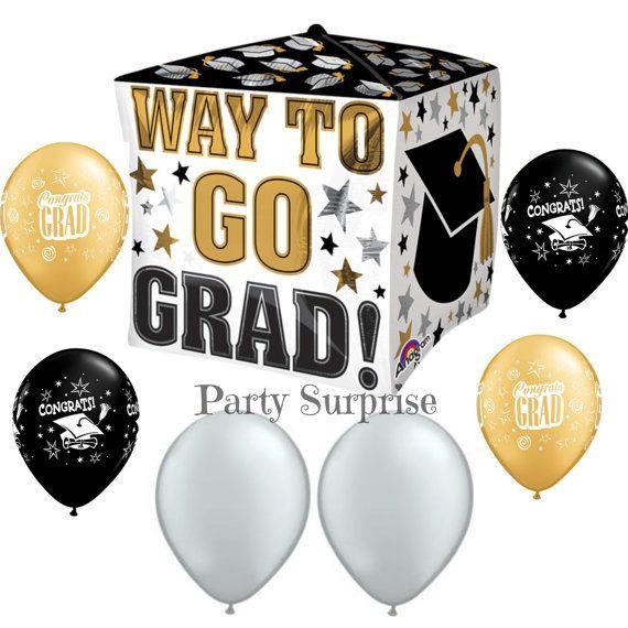 Graduation Party Balloon Walk To Go Graduation Decorations Mylar & More! Graduate Black Gold Latex Pick Your Package Boy Girl Graduation Balloon
