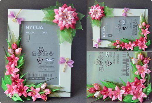 Декор предметов Украшение Цумами Канзаши Много розовых цветочков и корзинка Ленты фото 4