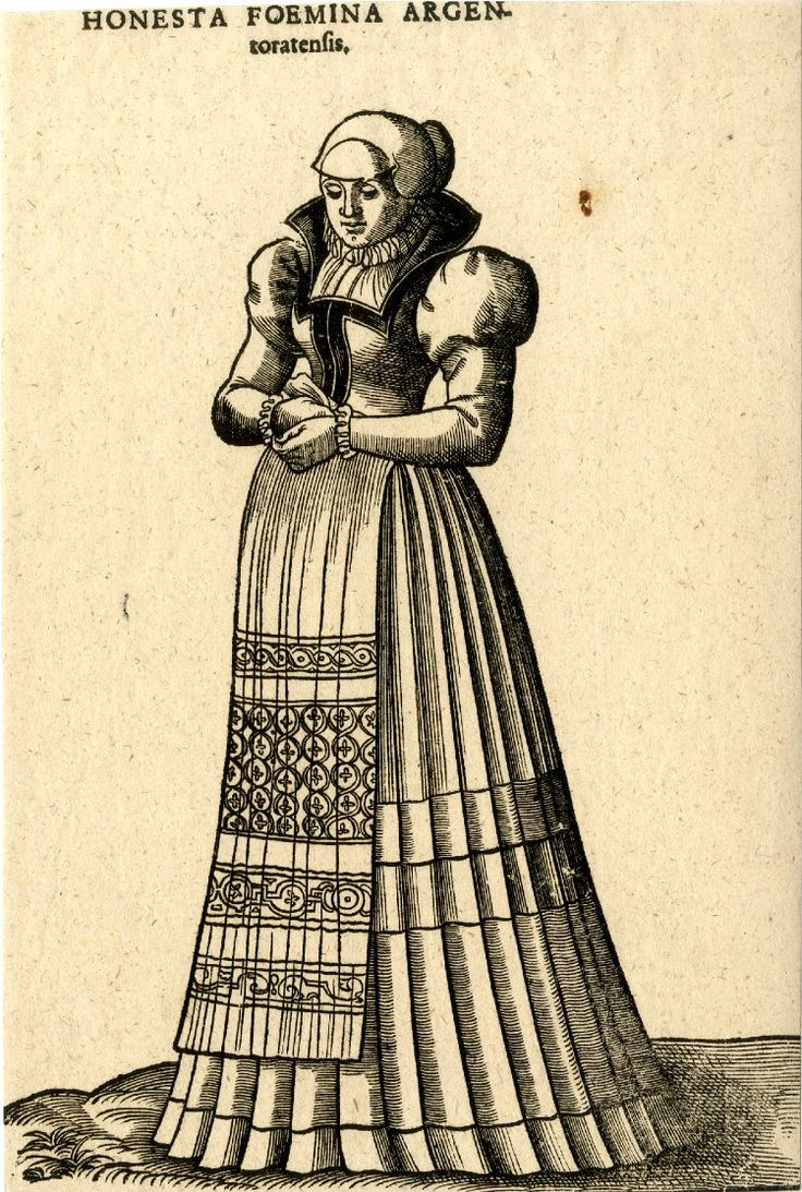 Plate 63: A married woman from Strasbourg; whole-length figure, in three-quarter profile to left; wearing a patterned apron and a dress with puffed sleeves; illustration to Hans Weigel's 'Habitus Praecipuorum Populorum ... das ist Trachtenbuch', 2nd ed., Ulm: Kühn for Görlin, 1639. 1577  Woodcut and letterpress  British Museum Registration number: 1871,1209.3287