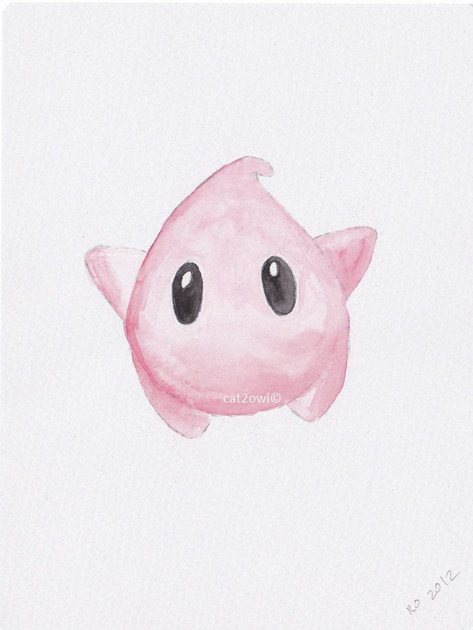 Super Mario Galaxy Luma - Pink - inspired geekery art - ORIGINAL WATERCOLOR PAINTING 5 by 8. $14.00, via Etsy.