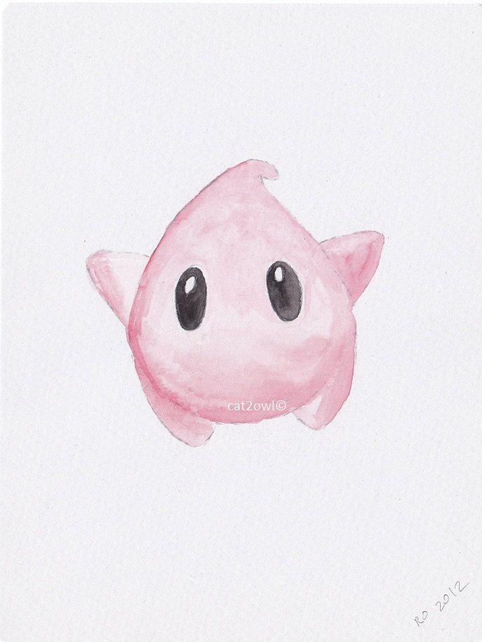 Super Mario Galaxy Luma - Pink - inspired geekery art - ORIGINAL WATERCOLOR PAINTING 5 by 8. $14.00, via Etsy.