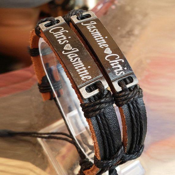Custom Leather Bracelet Personalized Name by newyorkcustommade