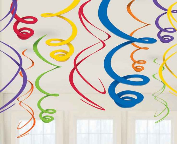"""These swirl decorations are the best way to celebrate anything. They are great for kids and adults alike. They measure 22"""" long and each package contains 12 swirls."""
